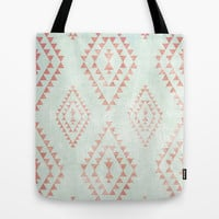 mint & coral tribal pattern Tote Bag by daniellebourland