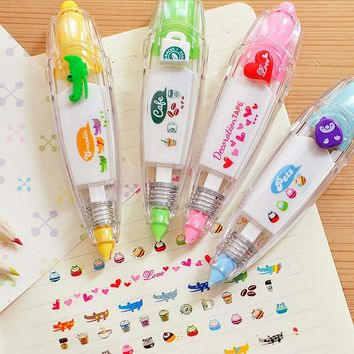 1 Pcs Kids Cute Drawing Toy Pen Decorative Correction Tape Lace For Key Tags Sign Students Gifts School Office Supply