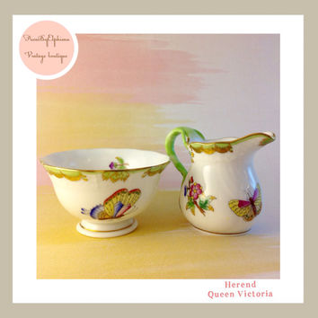 Herend Queen Victoria Mini Creamer and Mini Sugar Bowl Butterfly Pattern Green Trim and Gold Glit Hand Painted