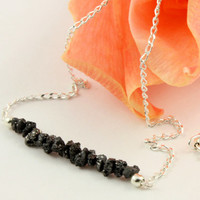 Black Rough Diamonds Necklace in Sterling Silver  by LiansElegance
