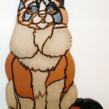 Wood Sculpture Cat, Wall Hanging Calico, Intarsia Wood Art, Wooden Animals, Calico Cat, Wall Decor,