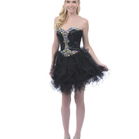 2013 Homecoming Dresses - Black Sequined Rhinestone Strapless Short Dress - Unique Vintage - Prom dresses, retro dresses, retro swimsuits.
