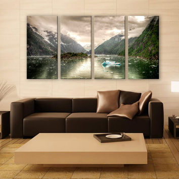 Tracy Arm Fjord Juneau Mountains Print 4 Panels Print Wall Decor Fine Art Nature Photography Repro Print for Home and Office Wall Decoration