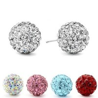 Authentic Diamond Color Crystal Ball Stud Earrings. Clear 6mm.