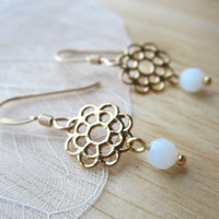 Filigree Daisy Earrings - gold & amazonite flower dangles - dainty everyday jewelry