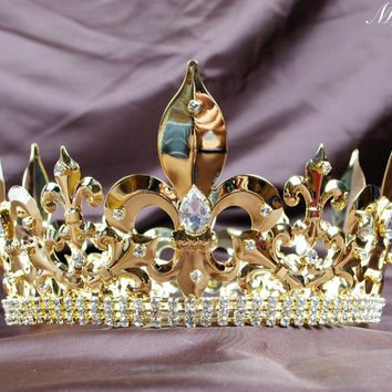 Imperial Medieval Large Gold Crowns For Men Clear Crystal Cosplay 360 design