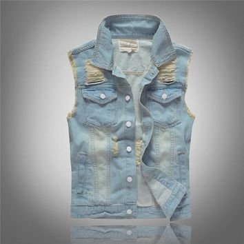 Grandwish Mens Denim Waistcoat Plus Size M-5XL Frayed Hole Jeans Vest Male Washed Men's Jeans Jacket Sleeveless Slim Fit ,DA606