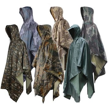 Multifunction Military Impermeable Camo Raincoat Waterproof Rain Coat Men Women Motorcycle Rain Poncho for Camping Fishing