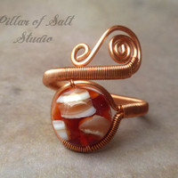 Copper ring, wire wrapped jewelry handmade, wire jewelry, Wire Wrapped Ring, copper jewelry, red and white mother of pearl mosaic, unique