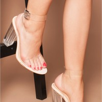 Aaliyah Nude Beige Sandals with Clear Perspex Strap   Women's Heels, Boots & Shoes