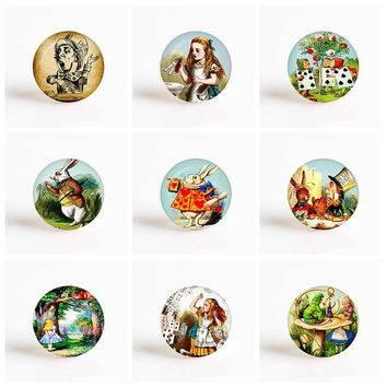 Alice In Wonderland Cheshire Cat Caterpillar DIY 25mm Round Glass Cabochon for Pendant Glass Dome Jewelry Accessories