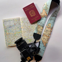 Padded camera strap, SLR, DSLR, world map cotton. Map of the world printed Vegan unisex camera strap.