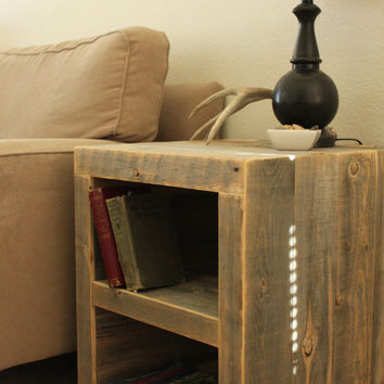 Reclaimed Wood Side Table/ Night Stand by AtlasWoodCo on Etsy