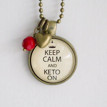 Keep Calm And Keto On Necklace - Jewelry For Faster - Health Pendant - Ketogenic Necklace - Text Jewelry Intermittent Fasting Diet Lifestyle