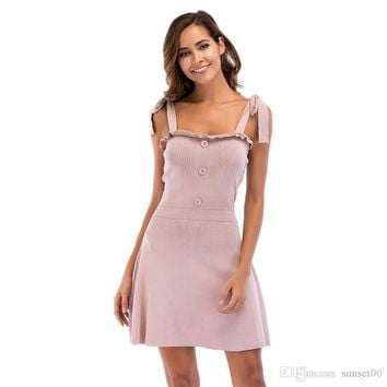 Women Sweet A Line Skirt Ladies Summer New Solid Color Sexy Elegant Lace Up Halter Dress