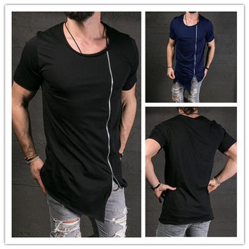 2016 New Men's Fashion Show Stylish Long T shirt Asymmetrical Side Zipper Big Neck Short Sleeve T-Shirt Sport Tees [8833469260]