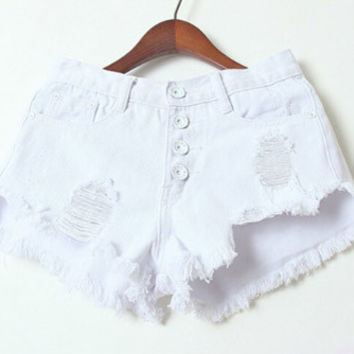 White Shredded Denim Shorts