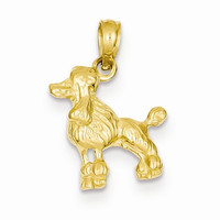 14k Yellow Gold Poodle Dog Pendant