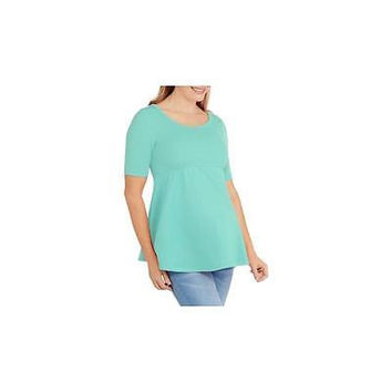 Maternity Short Sleeve Knit Woven Top, Mint, Large Planet Motherhood