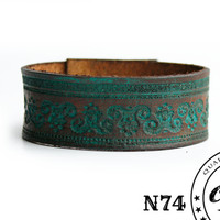 Hand Painted Turquoise Leather Cuff - Antique look - Genuine leather cuff-  Wristband - Rustic, tribal jewelry - Custom Size - Free shipping