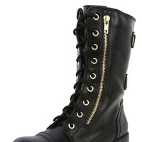 Soda Domesa Black Buckle Lace Up Combat Boots-MakeMeChic.com