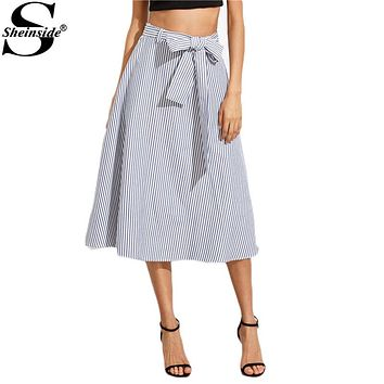 Sheinside 2016 Female New Style Blue and White Vertical Striped Twin Pockets Tie Waist Midi A Line Skirt
