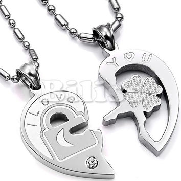 "Fashion Valentine ""Love You"" lock and key couples necklaces Titanium Stainless Steel Heart Necklaces For Women Men (One Pair)"