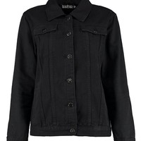 Oversize Black Denim Jacket | Boohoo