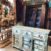 Farmhouse Antique Solid Wood Sideboard Console Rustic Distressed Blue Chest Buffet Cabinet Furniture Conscious Design 18