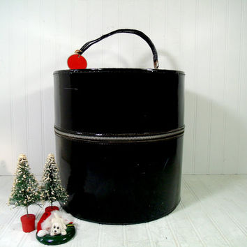 Vintage Black Patent Leather Round Train Case with Large Floral Interior - Retro Hat Box Luggage Weekender Carry-On Shabby Chic Wig Display