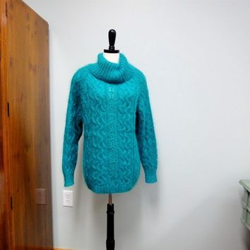 Vintage Cowl Neck Sweater, Deep Teal Blue Mohair, Cabled , Over sized 1980's