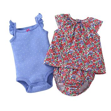 free ship Hot Baby bebes girl clothes cotton floral blue colors Baby Clothing Set baby rompers Girls summer style Sets