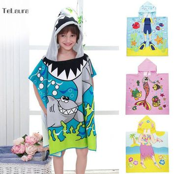 LMFGC3 New Children Beach Towel Kids Hooded Cloak Microfiber Baby Boys Girls Towel Bibulous Towel For Children Serviette De Bain