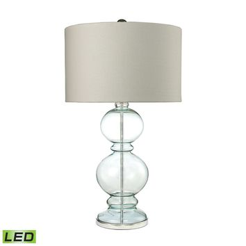 Curvy Glass LED Table Lamp in Light Blue With Textured Linen Shade Clear Light Blue,Polished Chrome