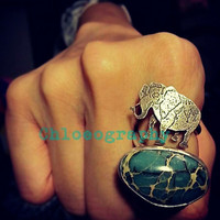 Circus Elephant Open Double Ring with Aqua Terra Jasper- Sterling Silver- Antique Patina Finish- Fit Size 6-8