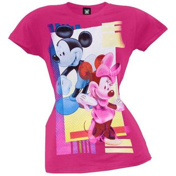Chenier Mickey Mouse - Pop Art Couple Juniors T-Shirt