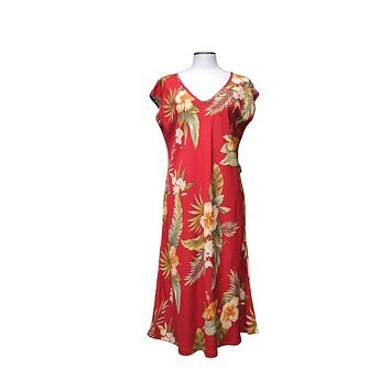 KY's Red Paradise Midi Dress with Hibiscus and Plumeria