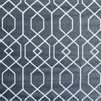2355 Dark Gray Toscana Trellis Area Rugs