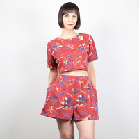 Vintage Matching Outfit Burnt Red Leaf print Crop Top Cropped T shirt Matching Set High Waisted Shorts Romper Outfit Boho M Medium L Large
