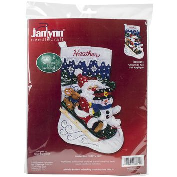 "Christmas Fun Janlynn Felt Stocking Applique Kit 16.5"" Long"