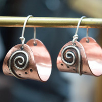 Mixed metal earrings,Rustic earrings,Boho Earrings,Copper earrings,Basket Earrings,Contemporary Jewelry,Metalsmith jewelry,Silver and copper