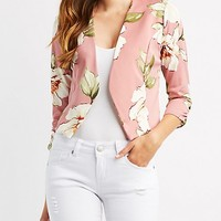 Floral Collarless Ruched Sleeve Blazer | Charlotte Russe
