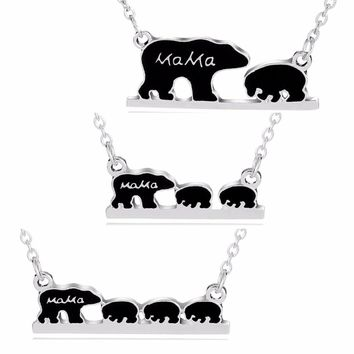 Lovely Mama Baby Bears Pendant Chain Necklace Mom Children Kids Jewelry Gifts For Family Love Son Daughter Mothers Necklaces New