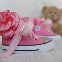 Swarovski Crystal Converse All Star High Top Sneakers, Pink Converse, Bling Converse, Bling Infant Converse, Custom Converse, Baby Gift