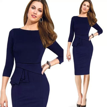 2015 Women Spring Elegant Cotton Tunic Frill Stretch Office Cocktail Party Shift Pencil Sheath Dress S-XXL = 1930425348