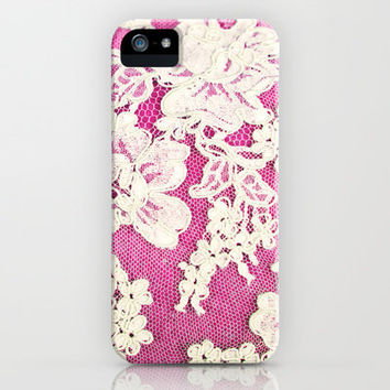 pink lace-photograph of vintage lace iPhone Case by Sylvia Cook Photography   Society6