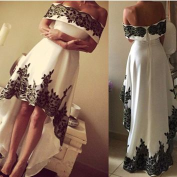 Classic Black And White High Low Off the Shoulder Short Cocktail Party Dresses Short Front Long Back
