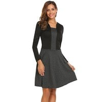 Dark Gray Square Neck Long Sleeve Party Dress