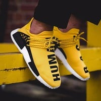 Best Online Sale Pharrell Williams x Adidas Consortium NMD Human Race Yellow Sport Running Shoes Classic Casual Shoes Sneakers