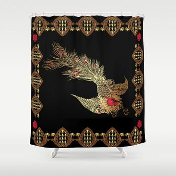 "Shower Curtain 71""x 74"" Bird & French Print"